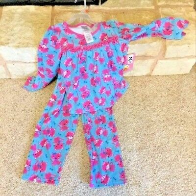 Girls Size 6 Small Winter Fleece Kitty Cat Pajamas Set Pink and Blue New!