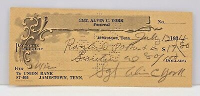 Sgt Alvin C York Signed Autographed Cancelled 1934 Check WWI Medal of Honor Army