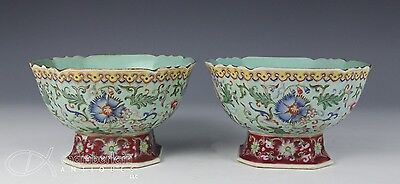Nice Pair Of Antique Chinese Enameled Porcelain Bowl W Qianlong Marks