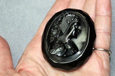 """Whitby Jet Cameo Brooch Pin Circa1860, England, Large  Antique """"Mourning"""""""