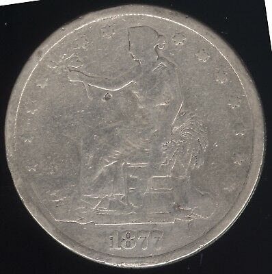 Genuine 1877-P US Silver Trade Dollar with Good + Details