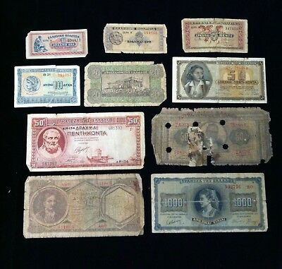 GREECE  Paper Money Lot 10 different
