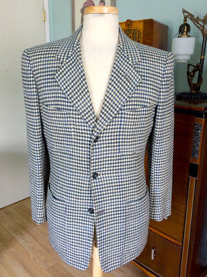 Vintage 1940's Blue Wool Houndstooth Sport Coat by Desmond's!