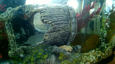 SUNKEN BARREL ORNAMENT DECORATION AQUARIUM FISH TANK tropical marine