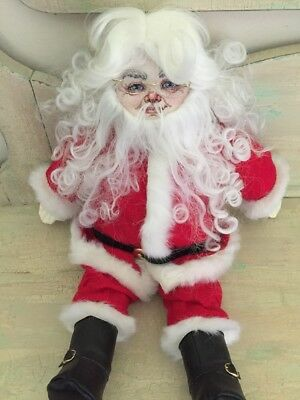 St. Nick Vintage Cross Stitch Santa Doll Figure Christmas Decor Needlepoint FACE