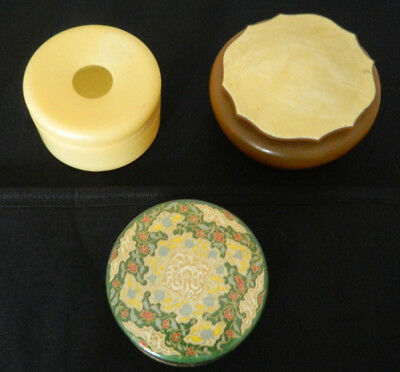 Vintage 1930s Emeraude by Coty 2.29 oz Air Spun Beauty Face Powder Box +2 others