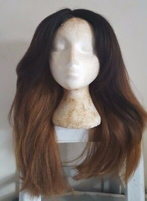 USED Synthetic Curly Straight Wavy Mid Lace Front Wig Brown Blonde Ombre