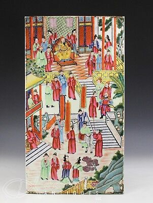Large Chinese Rose Mandarin Porcelain Tile With Scene Of Figures