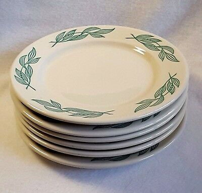 Buffalo China Restaurant Ware Plates 9 Inch Lunch Size Green Leaves Set of 6