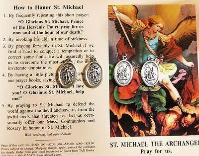 St. Michael Saint Michael 4 Blessed Medals With A Prayer Card Pendant Charm