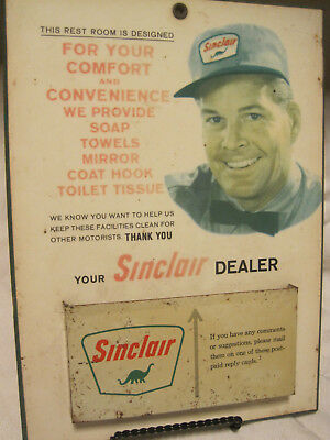VTG SINCLAIR Gas Station RESTROOM COMFORT SIGN/DISPLAY W/SUGGESTION BOX