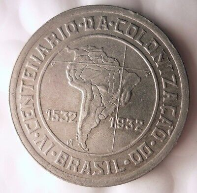 1932 BRAZIL 400 REIS - HIGH GRADE - Super Rare One Year Type Coin - Lot #914