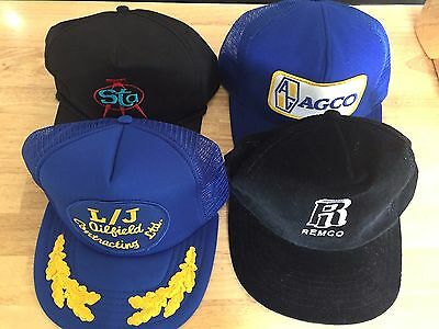 Vintage SnapBack Trucker Hats Mesh Corduroy Assorted Lot of 4 Blue Embroidered
