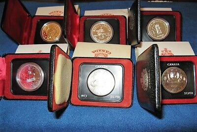 6 Canadian Silver Dollars - 2 x 1972, 1975, 1977 & 2 x 1978 all are 50% Silver