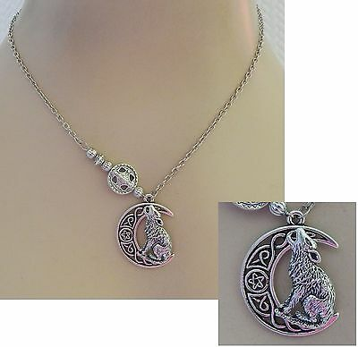 Silver Celtic Moon Wolf Pendant Necklace Jewelry Handmade NEW Adjustable Fashion