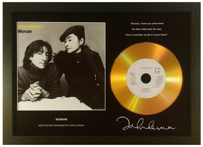 John Lennon 'woman' Signed Gold Disc Display