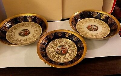 La Petite Vintage 22k Gold Porcelain China Portrait Plates