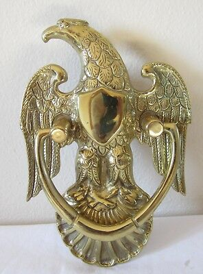 """Vintage Large Metal American Eagle Door Knocker With Shield 8 3/4""""  Tall 4000A"""