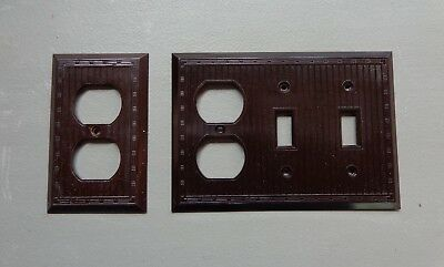Vintage Outlet & Switch Covers Plates Dark Brown Bakelite Deco Ribbed Design