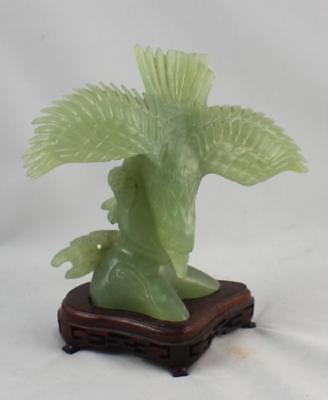 Vintage Chinese Carved Jade Statue Of Bird w,Wood Base