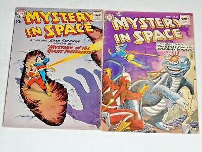 Mystery In Space #55 and #57 comic lot- Grey Tone cover