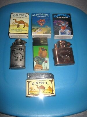 Vintage Lot of 7 Collectible CAMEL Cigarettes Advertising Lighters. Joe Camel