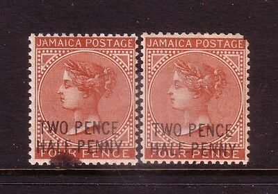 JAMAICA....  1890  Two pence Half Penny on 4d  x2 mint.... cv £80