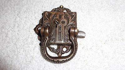 Ornate Antique Victorian Brass Cabinet Door Latch with lock no key