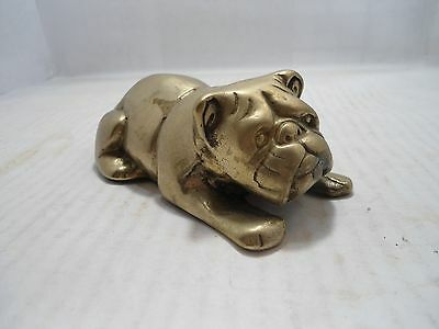 Bulldog Collectible: Vintage Brass Laying  Bulldog Paper Weight/display Piece
