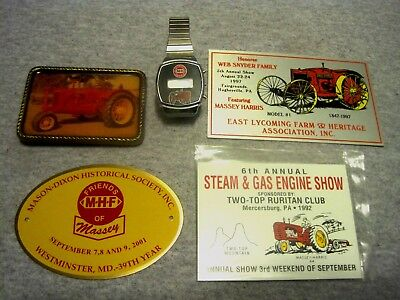 Vintage Lot of 5 MASSEY HARRIS Items. Watch, Belt Buckle & 3 Custom Show Plaques