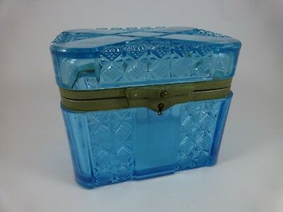 Antique IMPERIAL RUSSIAN BLUE PRESSED GLASS TEA CADDY - 1904 - Trinket Box