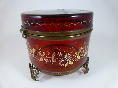 Antique Victorian CRANBERRY GLASS COVERED TRINKET BOX - Round w/ Enamel Flowers