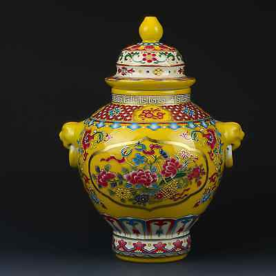 Chinese Famille Rose Porcelain Hand-painted Peony Pot W Qianlong Mark gd4334