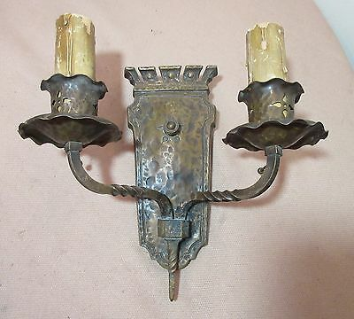 antique ornate Arts & Crafts patinated bronze 2 arm electric wall sconce fixture