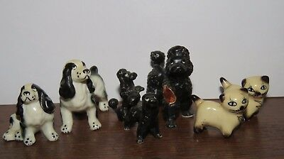 Miniature Bone China Spanials, Poodles and Ceramic Cats (lot of 7)