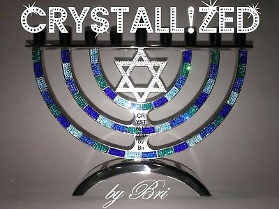 MADE TO ORDER CRYSTALLIZED Bling Menorah Hanukkah Made with Swarovski Crystals