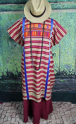 Traditional Brown & Red Triqui Huipil Hand Woven Oaxaca Mexico Hippie Fiesta