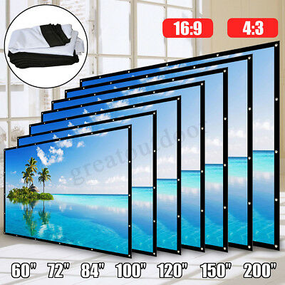 60-200'' Inch Folding Projector Screen 16:9/4:3 Home Theater HD Projection AU