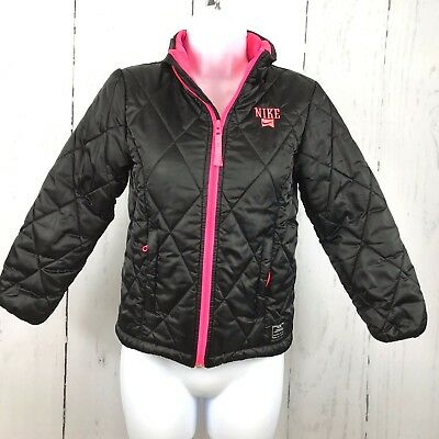 Nike Girls Quilted Coat Jacket Small Youth 8 10 Years Black Pink