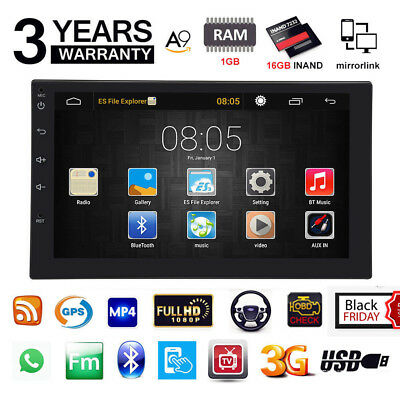 "Quad Core Android 6.0 3G WIFI 7"" Double 2DIN Car Radio Stereo MP5 Player GPS ice"