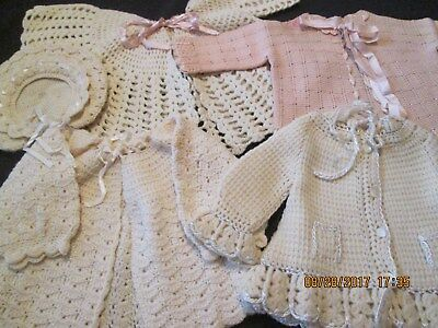 VINTAGE 1940s 4 HAND CROCHETED BABY/INFANT SWEATERS 1 W/MATCHING HAT VERY NICE