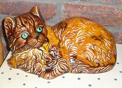Gorgeous Vintage Tortoiseshell Large Fulffy Cat Figurine Statue