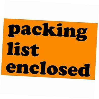 """bscl561 tape logic labels, """"packing list enclosed"""", 3"""" x 5"""", fluorescent orange"""