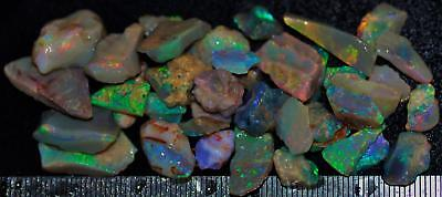 100 Carats Of Solid Quality Lightning Ridge Rough Rubbed Black Opal Parcel 96