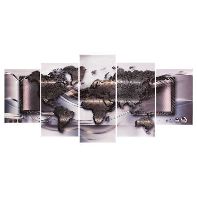 5Pcs Large Modern Art Canvas Print Art Picture Home Wall Decor World Map