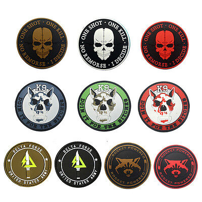PVC ONE SHOT ONE KILL ROCKET POWER Tactical Army Morale Rubber Badge