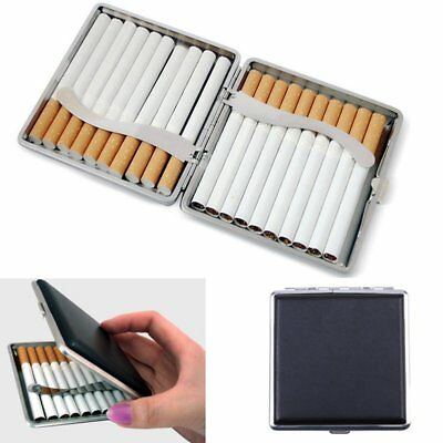 Black Pocket Leather Metal Tobacco 20 Cigarette Smoke Holder Storage Case Box