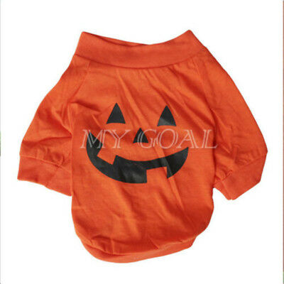 Halloween Pumpkin Pet Dog Puppy Clothe T-shirt Apparel Fancy Dress Costume Hoody