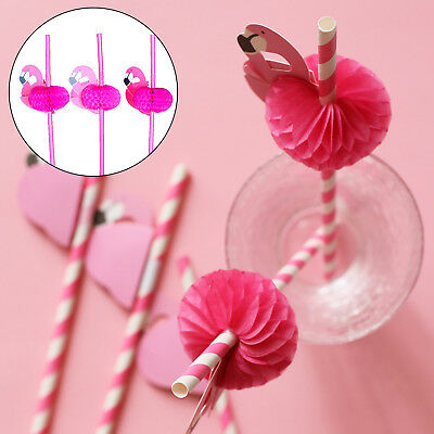 20pcs Flamingo Cocktail Drinking Straw Hawaiian Theme Decoration Fun Accessories