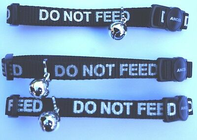 Bulk Deal 3X Do Not Feed Reflective  Ancol Safety Cat Collars - Red Black & Blue